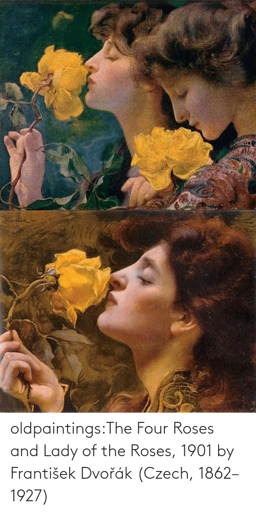 Four: oldpaintings:The Four Roses and Lady of the Roses, 1901 by František Dvořák (Czech, 1862–1927)