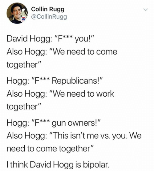 """Memes, Work, and Bipolar: olin Rugg  @CollinRugg  David Hogg: """"F***you!""""  Also Hogg: """"We need to come  together""""  Hogg: """"F**Republicans!""""  Also Hogg: """"We need to work  together""""  Hogg: """"F*** gun owners!  Also Hogg: """"This isn't me vs. you. We  need to come together""""  I think David Hogg is bipolar."""