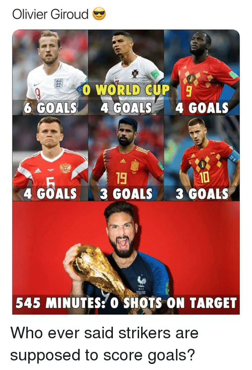 Olivier: Olivier Giroud  00 WORLD CUP  6 GOALS4 GOALS4 GOALS  19  3 GOALS  10  3 GOALS  4 GOALS  545 MINUTES:0 SHOTS ON TARGET Who ever said strikers are supposed to score goals?