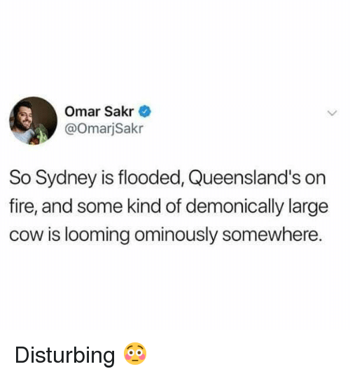 Fire, Memes, and 🤖: Omar Sakr  @OmarjSakr  So Sydney is flooded, Queensland's on  fire, and some kind of demonically large  cow is looming ominously somewhere. Disturbing 😳