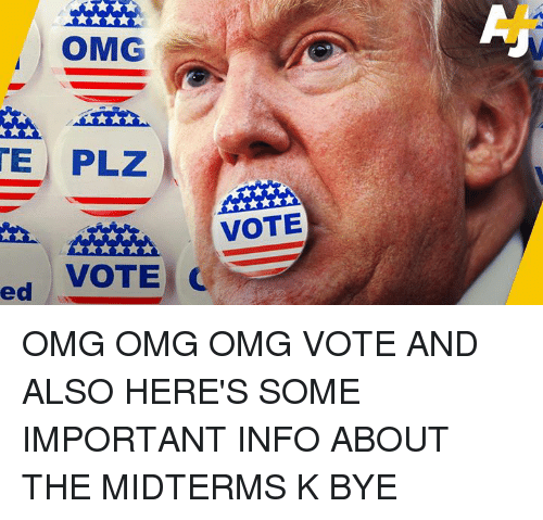 Memes, Omg, and 🤖: OMG  E PLZ  VOTE  VOTE C  ed/ OMG OMG OMG VOTE AND ALSO HERE'S SOME IMPORTANT INFO ABOUT THE MIDTERMS K BYE