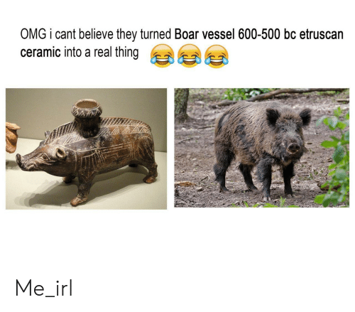 Omg, Etruscan, and Irl: OMG i cant believe they turned Boar vessel 600-500 bc etruscan  ceramic into a real thing Me_irl