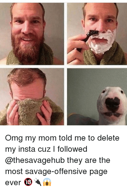 Memes, Omg, and Savage: Omg my mom told me to delete my insta cuz I followed @thesavagehub they are the most savage-offensive page ever 🔞🔌😱