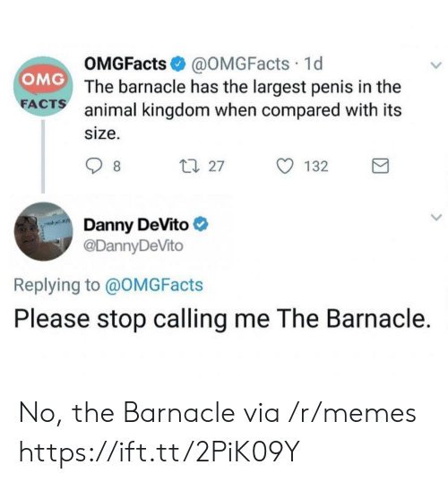 animal kingdom: OMGFacts @OMGFacts 1d  The barnacle has the largest penis in the  animal kingdom when compared with its  size.  OMG  FA  CTS  27  132  Danny DeVito  @DannyDeVito  Replying to @OMGFacts  Please stop calling me The Barnacle. No, the Barnacle via /r/memes https://ift.tt/2PiK09Y