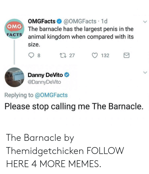animal kingdom: OMGFacts @OMGFacts 1d  The barnacle has the largest penis in the  animal kingdom when compared with its  size.  OMG  FA  CTS  Danny DeVito  @DannyDeVito  Replying to @OMGFacts  Please stop calling me The Barnacle. The Barnacle by Themidgetchicken FOLLOW HERE 4 MORE MEMES.