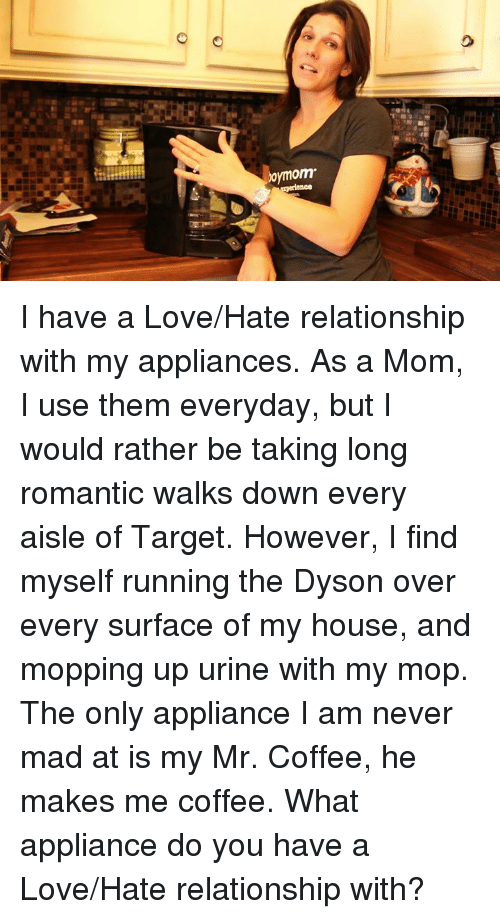 Appliance: omom I have a Love/Hate relationship with my appliances. As a Mom, I use them everyday, but I would rather be taking long romantic walks down every aisle of Target. However, I find myself running the Dyson over every surface of my house, and mopping up urine with my mop. The only appliance I am never mad at is my Mr. Coffee, he makes me coffee. What appliance do you have a Love/Hate relationship with?