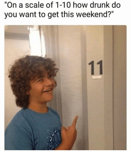 "Scaling: ""On a scale of 1-10 how drunk do  you want to get this weekend?"""