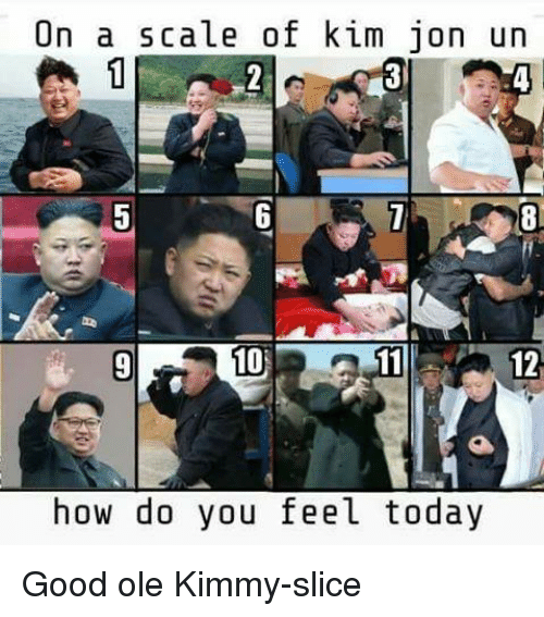 Memes, Good, and Today: On a scale of kim jon un  12  how do you feel today Good ole Kimmy-slice