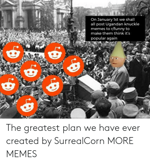 Dank, Funny, and Memes: On January 1st we shall  all post Ugandan knuckle  memes to r/funny to  make them think it's  popular again The greatest plan we have ever created by SurrealCorn MORE MEMES