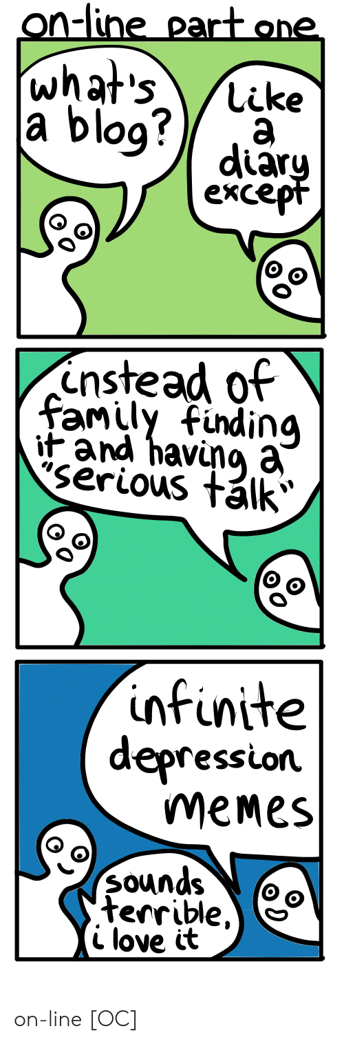 Serious Talk: on-line part one  o9  diar  exce  O o  instead of  family findina  it and havuna a  Serious tálk  infinite  depression  meMes  Sounds (oo  terrible  i love it on-line [OC]