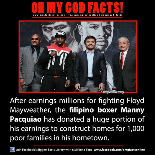 manny pacquiao: ON MY CO FACTS!  www.omg facts online.com I fb.com/om g factson line I eohmygod facts  Boxin  After earnings millions for fighting Floyd  Mayweather, the filipino boxer Manny  Pacquiao has donated a huge portion of  his earnings to construct homes for 1,000  poor families in his hometown.  Join Facebook's Biggest Facts Library with 6 Million+ Fans- www.facebook.com/omgfactsonline