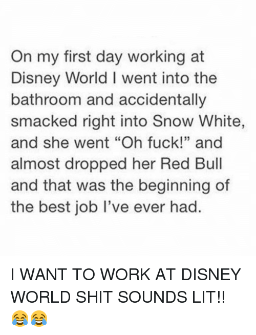 """Red Bull: On my first day working at  Disney World I went into the  bathroom and accidentally  smacked right into Snow White,  and she went """"Oh fuck!"""" and  almost dropped her Red Bull  and that was the beginning of  the best job I've ever had.  35 I WANT TO WORK AT DISNEY WORLD SHIT SOUNDS LIT!! 😂😂"""