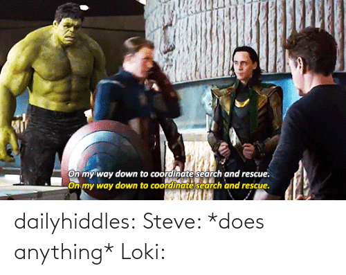 On My Way: On my way down to coordinate search and rescue.  LOn my way down to coordinate search and rescue. dailyhiddles:  Steve: *does anything* Loki: