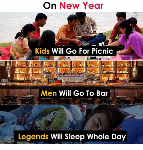 Memes, New Year's, and Kids: On New Year  Kids Will Go For Picnic  Men Will Go To Bar  Legends Will Sleep Whole Day