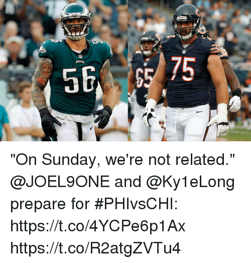 "Memes, Sunday, and 🤖: ""On Sunday, we're not related.""  @JOEL9ONE and @Ky1eLong prepare for #PHIvsCHI: https://t.co/4YCPe6p1Ax https://t.co/R2atgZVTu4"