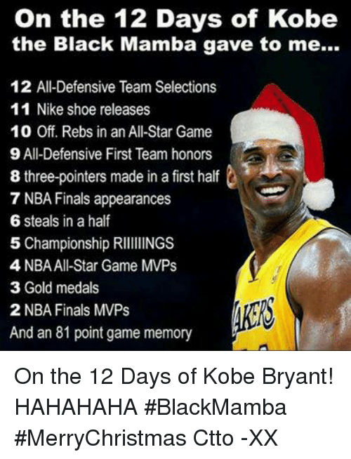 e5735f9c39f2 On the 12 Days of Kobe the Black Mamba Gave to Me 12 All-Defensive ...