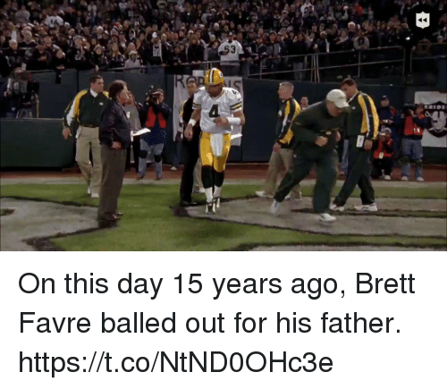 Football, Nfl, and Sports: On this day 15 years ago, Brett Favre balled out for his father. https://t.co/NtND0OHc3e