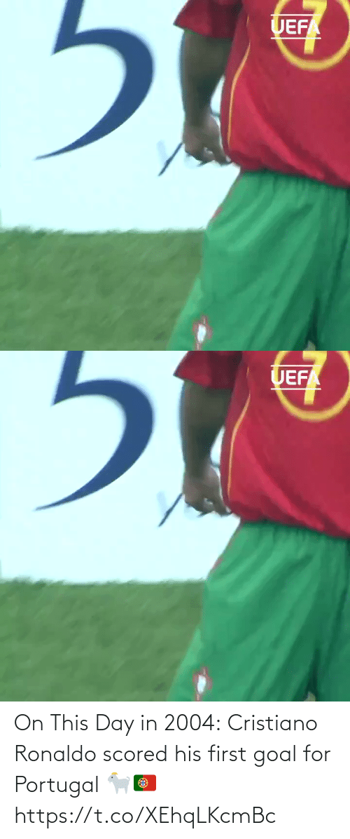Goal: On This Day in 2004:  Cristiano Ronaldo scored his first goal for Portugal 🐐🇵🇹 https://t.co/XEhqLKcmBc