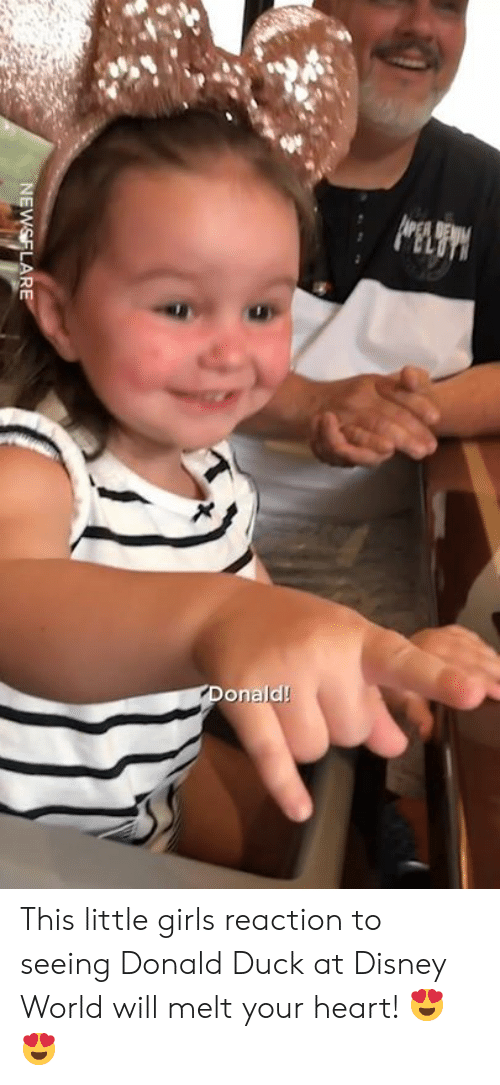 donald duck: onald! This little girls reaction to seeing Donald Duck at Disney World will melt your heart! 😍😍
