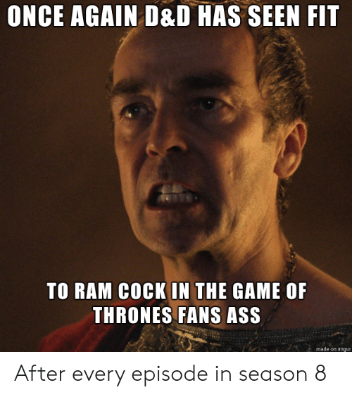 Ass, Game of Thrones, and The Game: ONCE AGAIN D&D HAS SEEN FIT  TO RAM COCK IN THE GAME OF  THRONES FANS ASS  made on imgur After every episode in season 8
