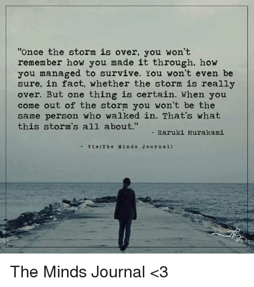 "Memes, 🤖, and Journal: ""Once the storm is over, you won't  remember how you made it through, how  you managed to survive. You won't even be  sure, in fact, whether the storm is really  over. But one thing is certain. When you  come out of the storm you won't be the  same person who walked in. That's what  this storm's all about.""  Haruki Murakami  Via Th e M in d s J o u r n a l) The Minds Journal <3"