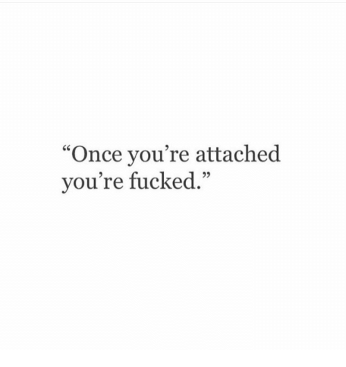 "Once, Youre, and Fucked: ""Once you're attached  vou're fucked."""