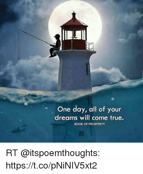 Memes, True, and Book: One day, all of your  dreams will come true.  BOOK OF PROSPERITY RT @itspoemthoughts: https://t.co/pNiNIV5xt2