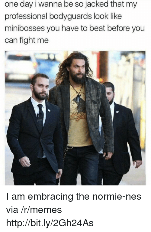 Embracing: one day i wanna be so jacked that my  professional bodyguards look like  minibosses you have to beat before you  can fight me I am embracing the normie-nes via /r/memes http://bit.ly/2Gh24As