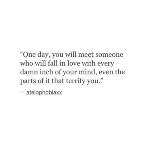 """Fall, Love, and Mind: """"One day, you will meet someone  who will fall in love with every  damn inch of your mind, even the  parts of it that terrify you.""""  cC  05  atelophobiaxx"""