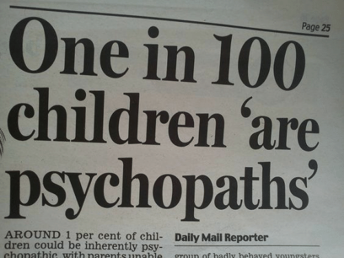 Children, Daily Mail, and Mail: One in 100  children 'are  psychopaths  Page 25  AROUND 1 per cent of chil- Daily Mail Reporter  dren could be inherently psy-  chonathic with narents unahle  groun of badly hehaved voungsters.