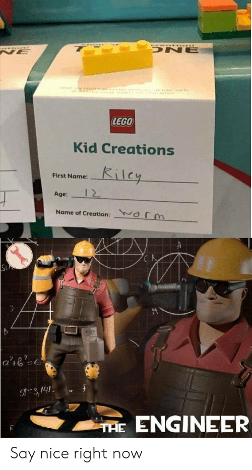 creations: ONE  NE  e GO  rk  LEGO  Kid Creations  Kilcy  First Name:  12  Age:  Name of Creation:  Or  SU  3,141  ENGINEER  THE Say nice right now