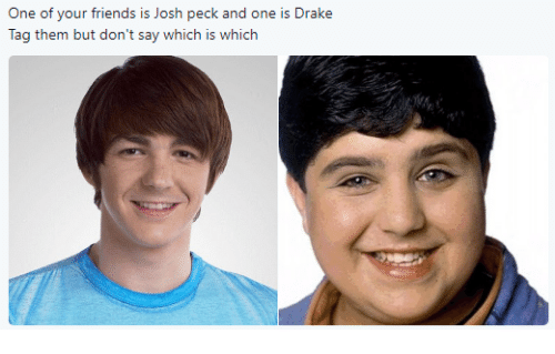 Pecks: One of your friends is Josh peck and one is Drake  Tag them but don't say which is which