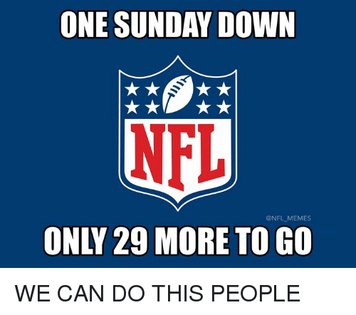 Memes, Nfl, and Sunday: ONE SUNDAY DOWN  NFL  @NFL MEMES  ONLY 29 MORE TO GO WE CAN DO THIS PEOPLE