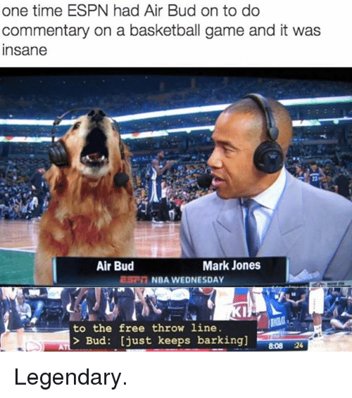 Basketball, Espn, and Funny: one time ESPN had Air Bud on to do  commentary on a basketball game and it was  nsane  Air Bud  Mark Jones  ESC NBA WEDNESDAY  to the free throw line  Bud: [just keeps barking]  8:08 24 Legendary.