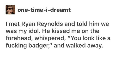 "Fucking, Ryan Reynolds, and Time: one-time-i-dreamt  I met Ryan Reynolds and told him we  was my idol. He kissed me on the  forehead, whispered, ""You look like  fucking badger,"" and walked away."