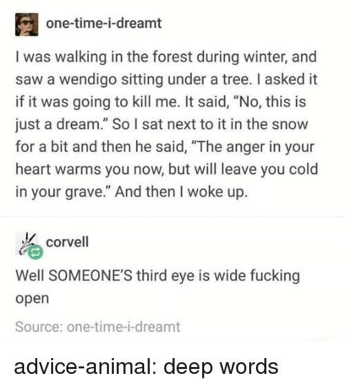 """And Then He Said: one-time-i-dreamt  I was walking in the forest during winter, and  saw a wendigo sitting under a tree. I asked it  if it was going to kill me. It said, """"No, this is  just a dream."""" So I sat next to it in the snow  for a bit and then he said, """"The anger in your  heart warms you now, but will leave you cold  in your grave."""" And then I woke up.  corvell  Well SOMEONE'S third eye is wide fucking  open  Source: one-time-i-dreamt advice-animal:  deep words"""