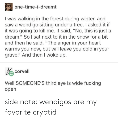 """And Then He Said: one-time-i-dreamt  I was walking in the forest during winter, and  saw a wendigo sitting under a tree. I asked it if  it was going to kill me. It said, """"No, this is just a  dream. So I sat next to it in the snow for a bit  and then he said, """"The anger in your heart  warms you now, but will leave you cold in your  grave."""" And then I woke up.  ゐcorvell  Well SOMEONE'S third eye is wide fucking  open side note: wendigos are my favorite cryptid"""