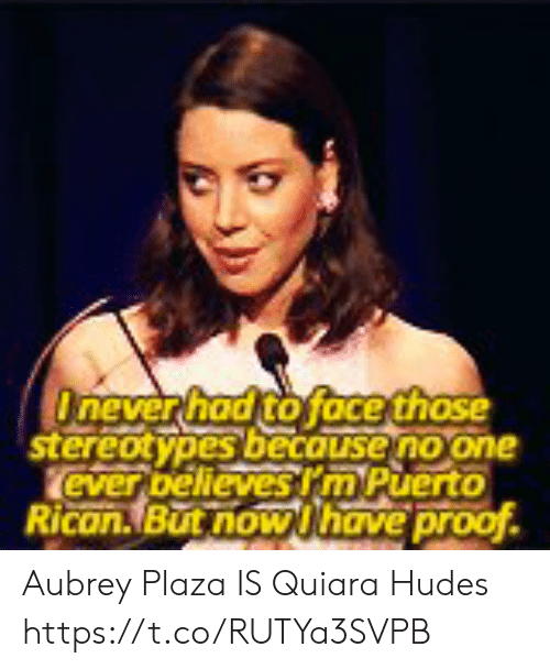 Aubrey Plaza, Memes, and 🤖: Onever had to face those  stereotypes becouse no one  ever bellevesrm Puerto  Rican.But now Uhave proof Aubrey Plaza IS Quiara Hudes https://t.co/RUTYa3SVPB