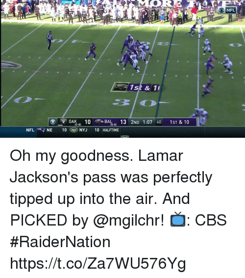 Memes, Nfl, and Cbs: ONFL  1st & 1  , OAK10 , BAL13 2ND 1:07 40 1ST & 10  -8)  [5-5)  -5)  NFL  NYJ 10 HALFTIME Oh my goodness.  Lamar Jackson's pass was perfectly tipped up into the air. And PICKED by @mgilchr!  📺: CBS #RaiderNation https://t.co/Za7WU576Yg