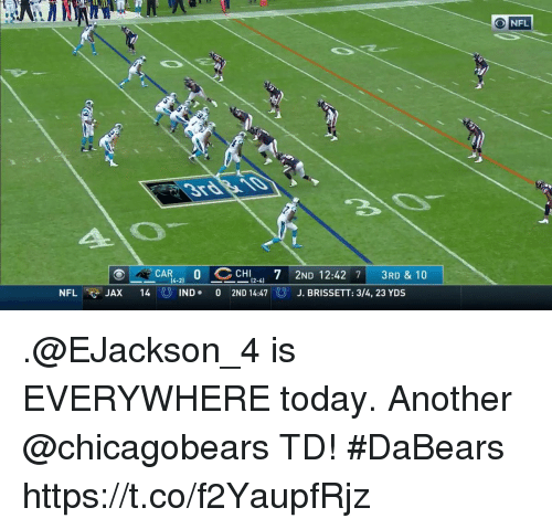 "Memes, Nfl, and Today: ONFL  CAR""-21 O CCHI2-41 7 2ND 12:42 71 3RD & 10  14 じIND . 0 2ND 14:47  ㄧ  NFL ee JAX  J. BRISSETT: 3/4, 23 YDS .@EJackson_4 is EVERYWHERE today.  Another @chicagobears TD! #DaBears https://t.co/f2YaupfRjz"