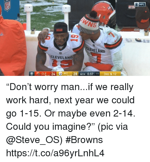 "Sports, Work, and Browns: ONFL  NS  EVELAND  CLEVELAND  CLE.(. 24E PIT 28 4TH 0:57 111 3RD & 12 ""Don't worry man...if we really work hard, next year we could go 1-15. Or maybe even 2-14. Could you imagine?""  (pic via @Steve_OS) #Browns https://t.co/a96yrLnhL4"