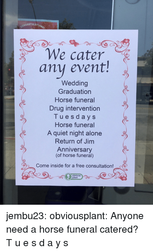Being Alone, Tumblr, and Blog: ONGRATULATION  We cater  any event!  Wedding  Graduation  Horse funeral  Drug intervention  Tuesdays  Horse funeral  A quiet night alone  Return of Jim  Anniversary  (of horse funeral)  Come inside for a free consultation!  Obvious  plant jembu23: obviousplant: Anyone need a horse funeral catered? T  u  e  s  d  a  y  s