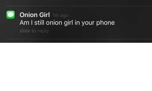 Phone, Girl, and Onion: Onion Girl  Am I still onion girl in your phone  slide to reply  1m ago