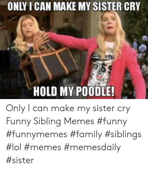 Sibling Memes: ONLY I CAN MAKE MY SISTER CRY  HOLD MY POODLE! Only I can make my sister cry Funny Sibling Memes #funny #funnymemes #family #siblings #lol #memes #memesdaily #sister
