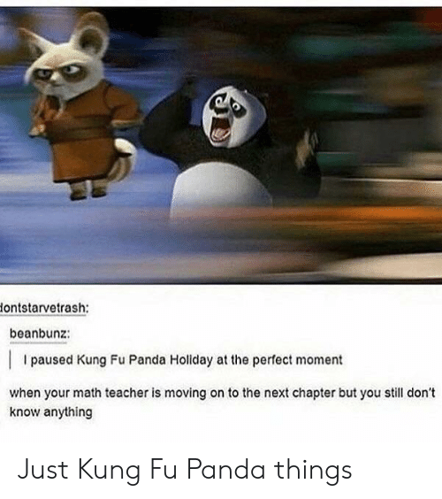 Teacher, Panda, and Math: ontstarvetrash:  beanbunz:  I paused Kung Fu Panda Holiday at the perfect moment  when your math teacher is moving on to the next chapter but ol don't  know anything Just Kung Fu Panda things