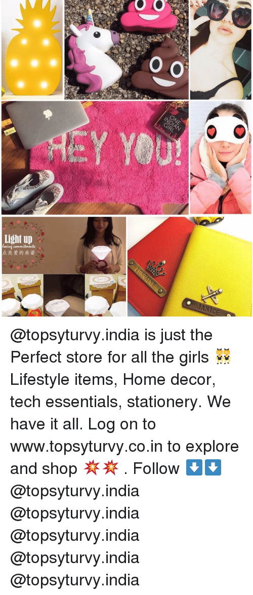 explorers: oo  O  Light up  点亮爱的承诺  ro  O @topsyturvy.india is just the Perfect store for all the girls 👯 Lifestyle items, Home decor, tech essentials, stationery. We have it all. Log on to www.topsyturvy.co.in to explore and shop 💥💥 . Follow ⬇️⬇️ @topsyturvy.india @topsyturvy.india @topsyturvy.india @topsyturvy.india @topsyturvy.india