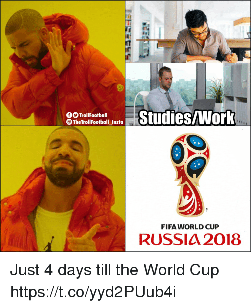 Fifa, Memes, and World Cup: OO TrollFootball  The TrollFootball Insta  FIFA WORLD CUP  RUSSIA 2018 Just 4 days till the World Cup https://t.co/yyd2PUub4i