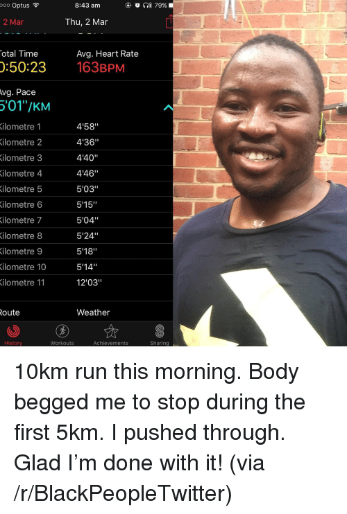 "Blackpeopletwitter, Run, and Heart: ooo Optus  8:43 am  O ?@ 79%  2 Mar  Thu, 2 Mar  otal Time  Avg. Heart Rate  :50:23 63BPM  vg.  Pace  '01""/KM  ilometre 1  ilometre 2  ilometre 3  4'58""  4'36""  4'40""  4'46""  5'03""  5'15""  5'04""  5'24""  5'18""  514""  12'03""  ilometre  4  ilometre 5  ilometre 6  ilometre 7  ilometre 8  ilometre 9  ilometre 10  ilometre 11  oute  Weather  History  Workouts  Achievements  Sharing <p>10km run this morning. Body begged me to stop during the first 5km. I pushed through. Glad I'm done with it! (via /r/BlackPeopleTwitter)</p>"