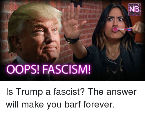 Barfing: OOPS! FASCISM!  NIR Is Trump a fascist? The answer will make you barf forever.