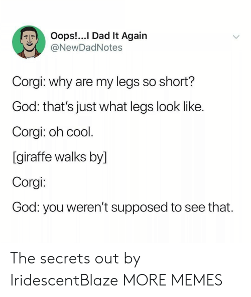 corgi: Oops!...I Dad It Again  @NewDadNotes  Corgi: why are my legs so short?  God: that's just what legs look like.  Corgi: oh cool.  [giraffe walks by]  Corgi:  God: you weren't supposed  to see that. The secrets out by IridescentBlaze MORE MEMES
